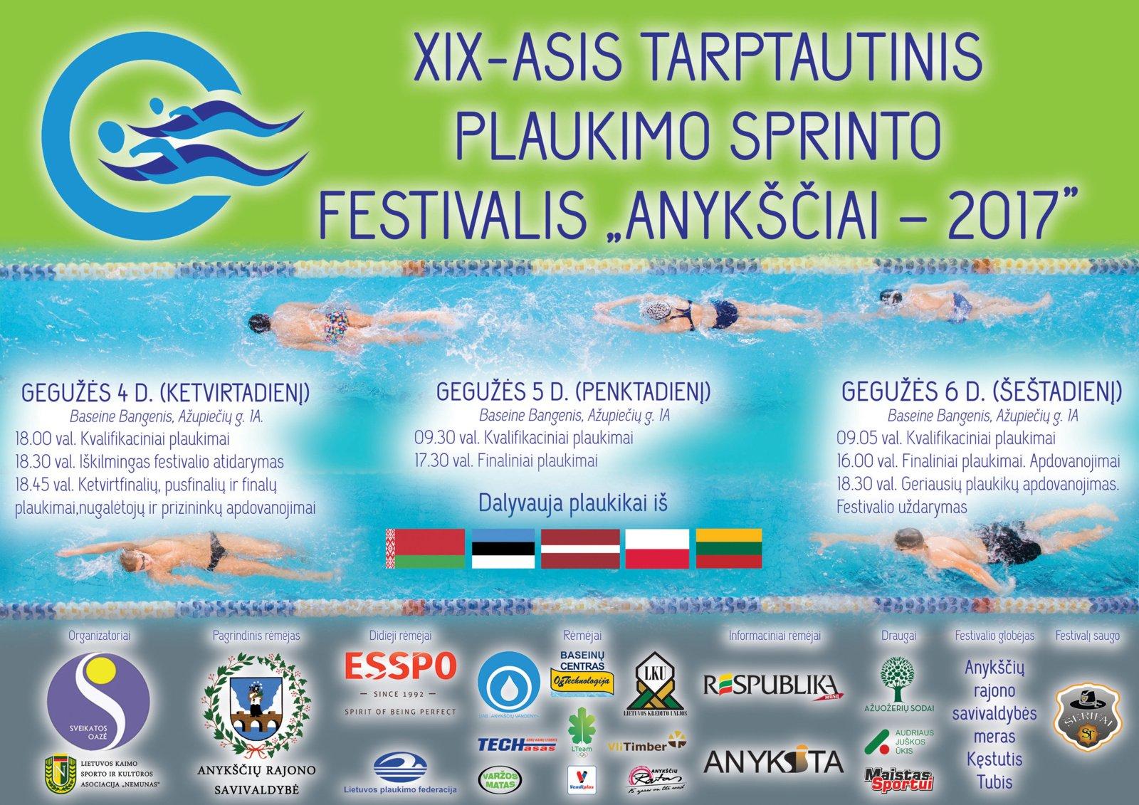 """Tarptautinis plaukimo sprinto festivalis """"Anykščiai - 2017"""""""