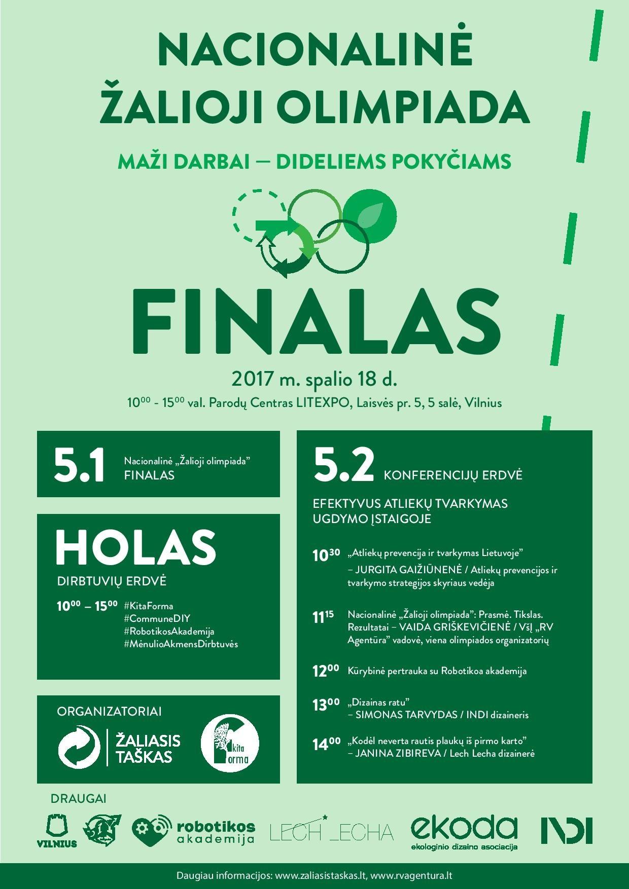 """Nacionalinės """"Žaliosios olimpiados"""" finale nemokamos konferencijos ir eko dirbtuvės lankytojams"""