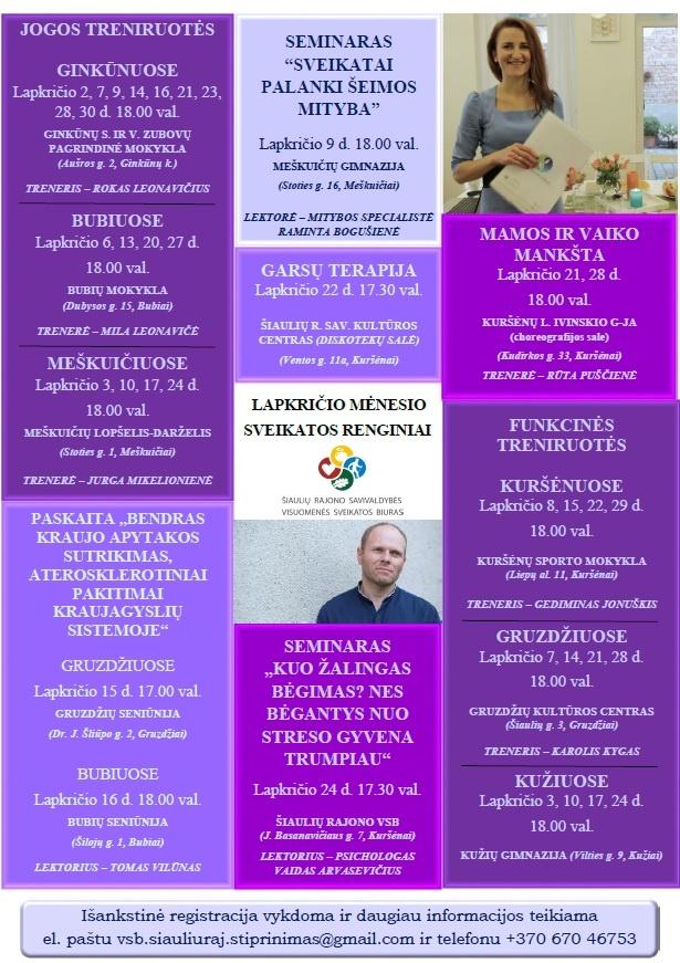 Šiaulių rajone - nemokami sveikatinimo renginiai
