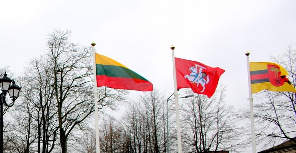Už pilietinės akcijos lėšas – trys vėliavų stiebai ir vėliavos gimnazijai