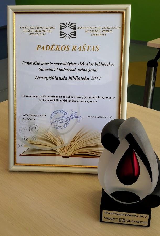 Draugiškiausios bibliotekos nominacija Šiaurinei bibliotekai