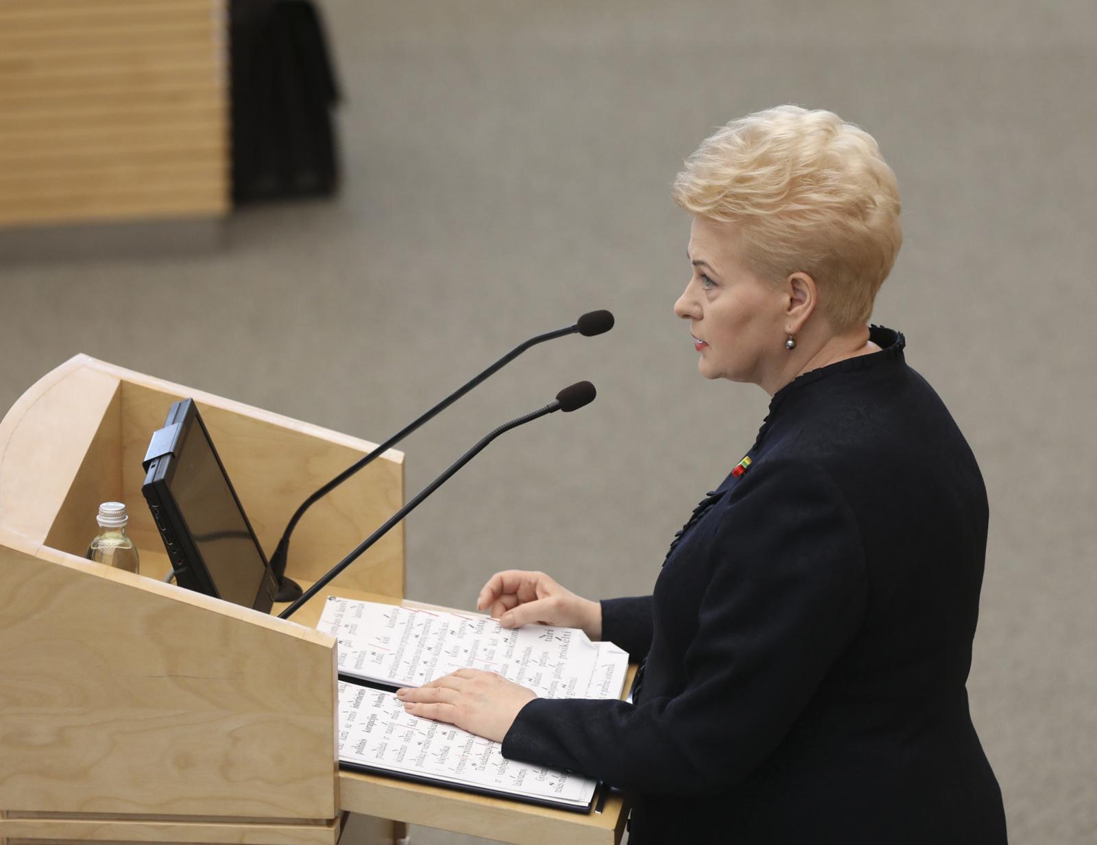 D. Grybauskaitė metiniame pranešime giria teisėsaugos darbą
