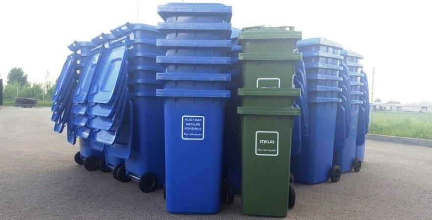 Dalinami pakuočių atliekų ir  stiklo pakuotės atliekų konteineriai