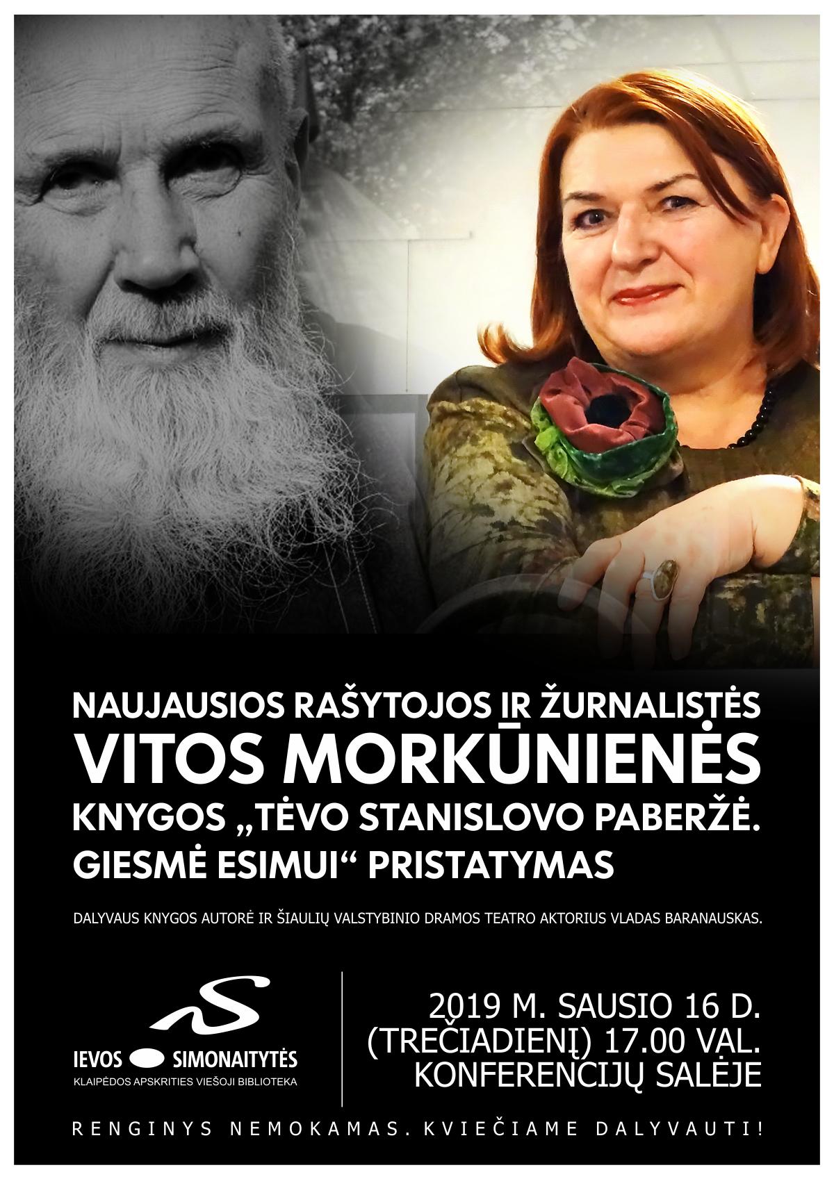 """Vitos Morkūnienės knygos """"Tėvo Stanislovo Paberžė. Giesmė Esimui"""" pristatymas"""