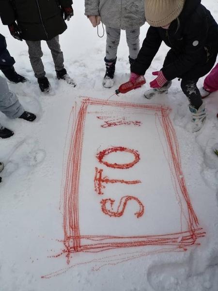 Balto sniego pataluose eismą reguliuoja spalvoti kelio ženklai