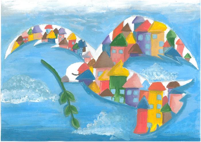 """Jurbarko Antano Sodeikos meno mokyklos mokinė Japonijos piešinių konkurse """"Taikūs miestai"""" pelnė 3 vietą"""