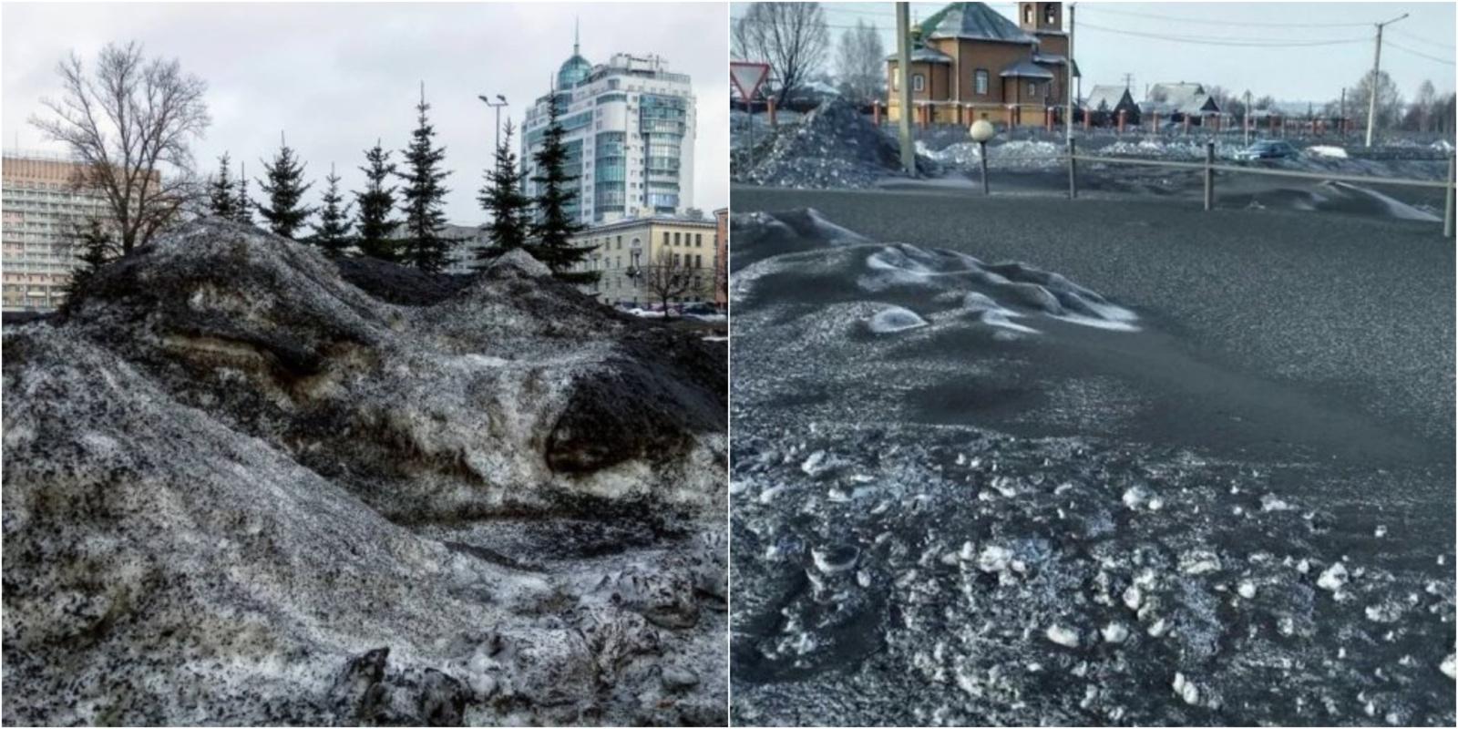 Apylinkes nuklojo juodas sniegas: žmonės pasibaisėję (vaizdo įrašas)