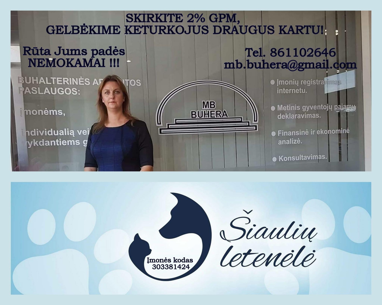 """""""Šiaulių letenėlės"""" savanorė padės JUMS užpildyti 2 proc. GPM blanką"""