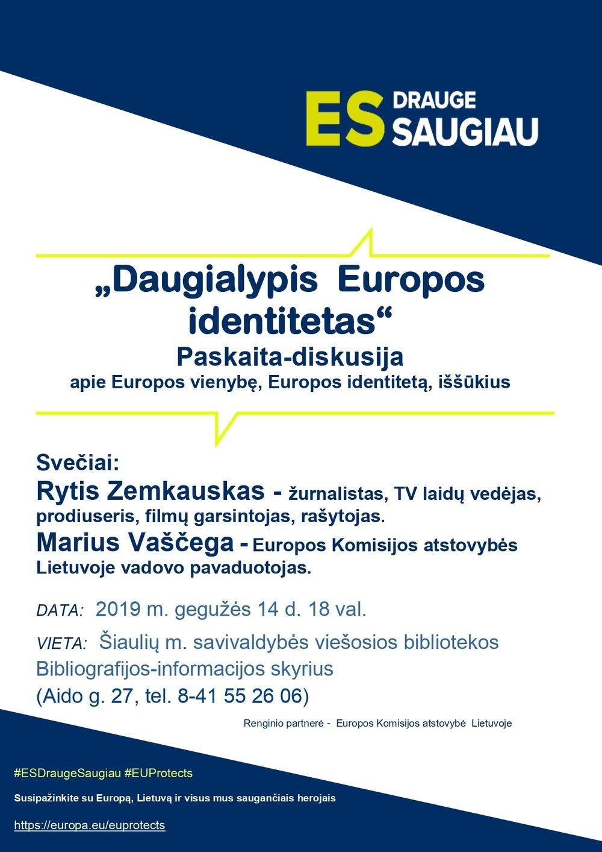 """Bibliotekoje vyks paskaita-diskusija """"Daugialypis Europos identitetas"""""""