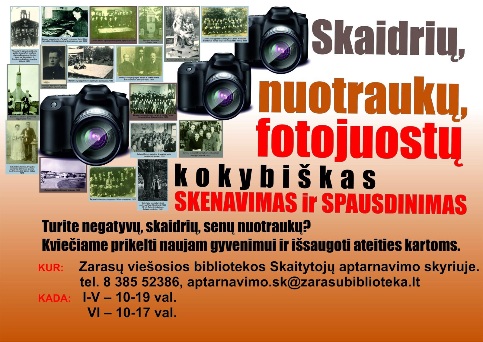 Skaidrių, nuotraukų, fotojuostų kokybiškas skenavimas