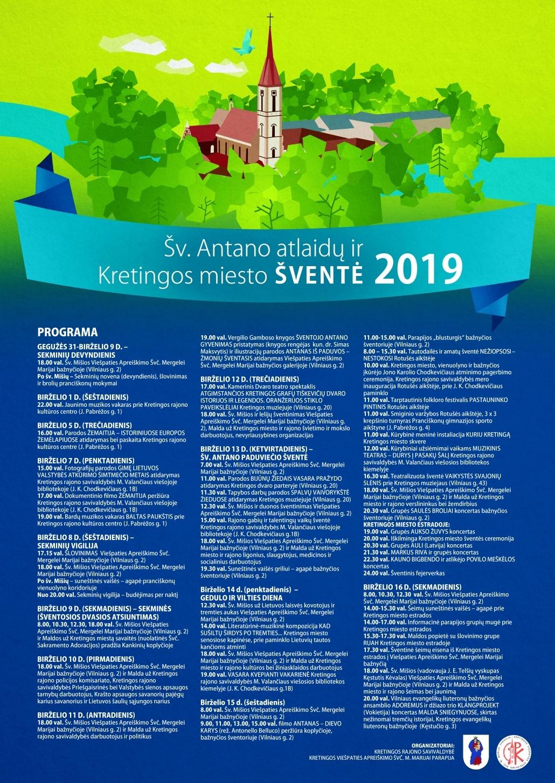 Šv. Antano atlaidų ir Kretingos miesto šventės programa