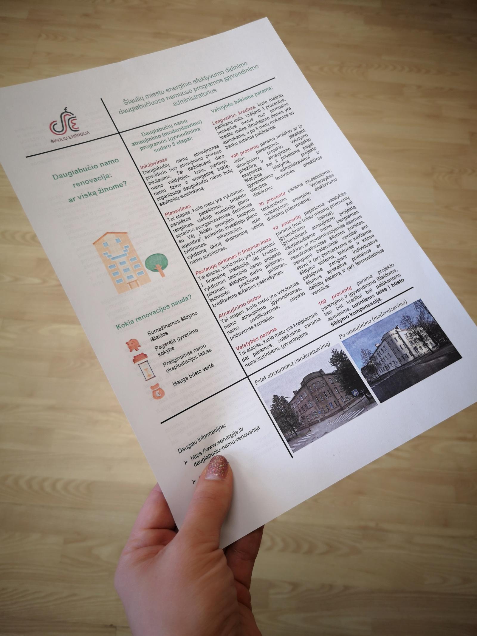 """AB """"Šiaulių energija"""" vartotojams – informacinis leidinukas apie daugiabučių namų renovaciją"""