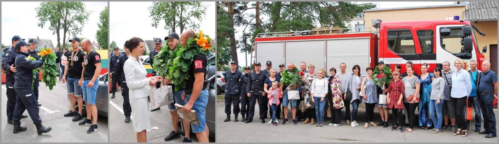 Šventiškai sutikti ir nuoširdžiai pasveikinti ugniagesiai gelbėtojai