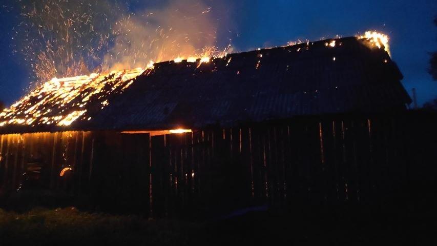 Paskynuose šiąnakt siautėjo padegėjas – pleškėjo ūkiniai pastatai