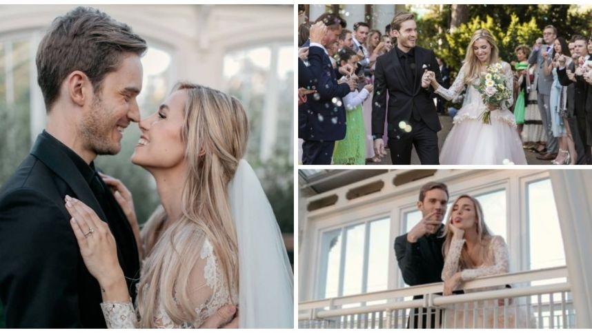 """Didžiausia """"YouTube"""" žvaigždė Pewdiepie per ištaigingą ceremoniją vedė savo mylimąją italę"""
