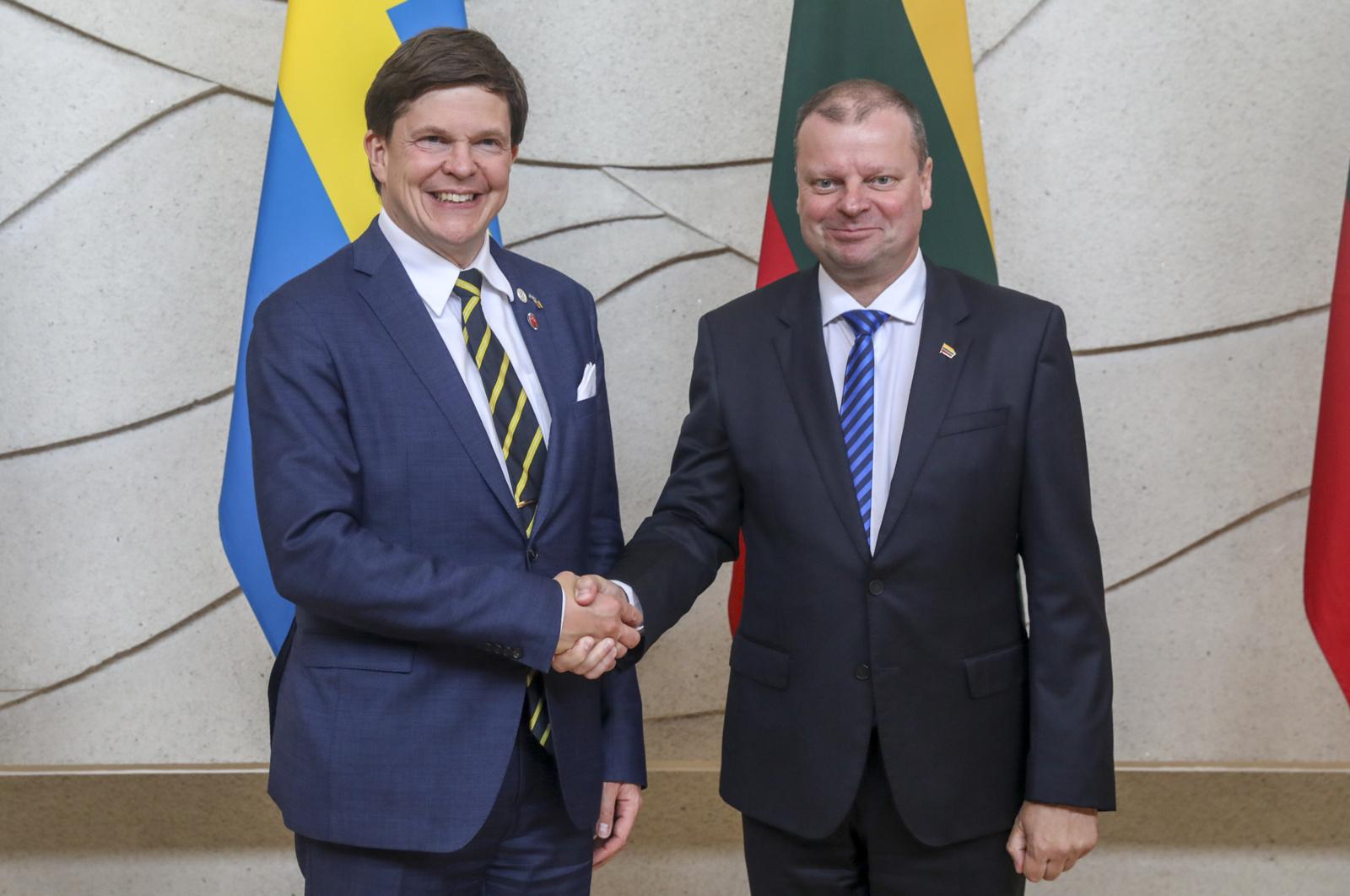Premjeras padėkojo Švedijos parlamento pirmininkui už nuolatinį ilgalaikį dėmesį Lietuvai