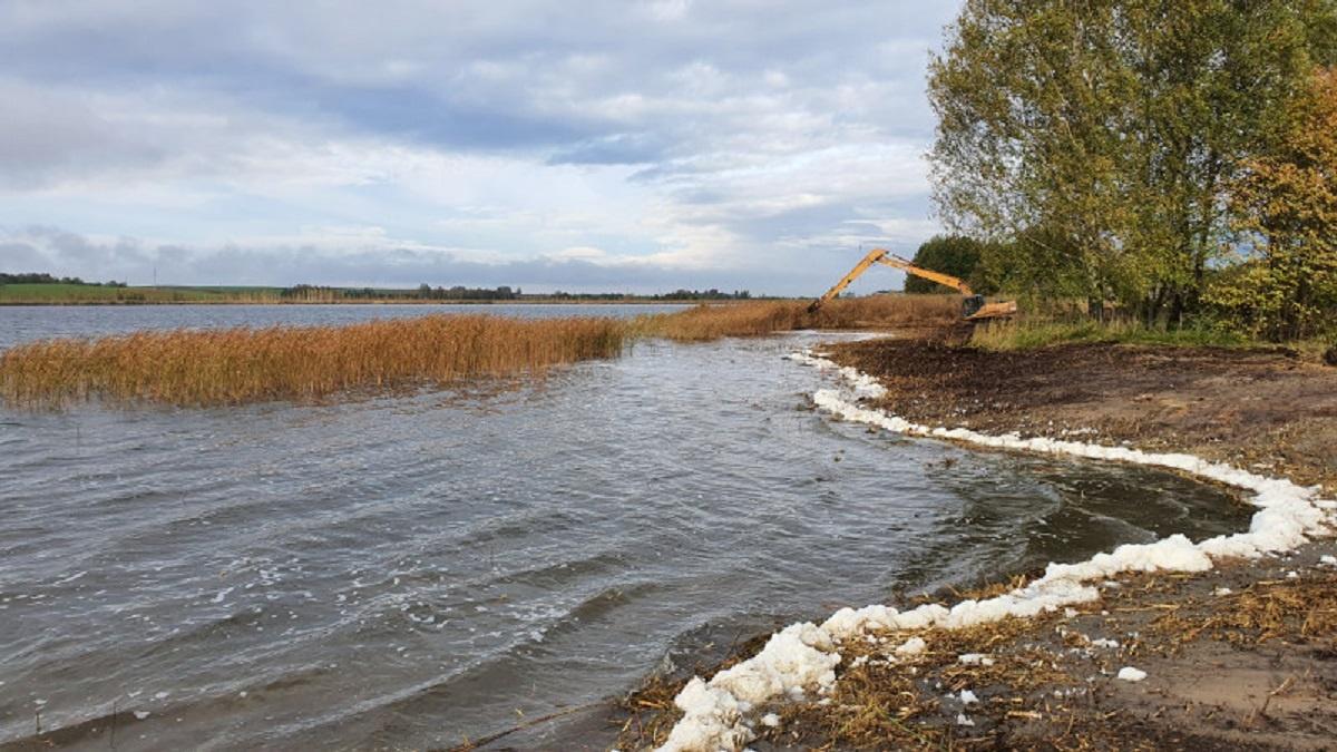 Pasibaigus augalų vegetacijai, Žaltyčio ežero rytinėje pakrantėje vykdomi tvarkymo darbai