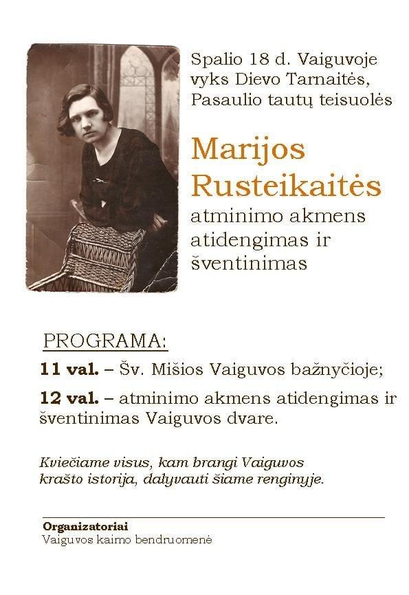Marijos Rusteikaitės akmens atidengimo ceremonija