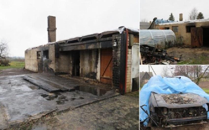 Gaisre sudegė pastatas, automobilis, motociklas ir kiti daiktai