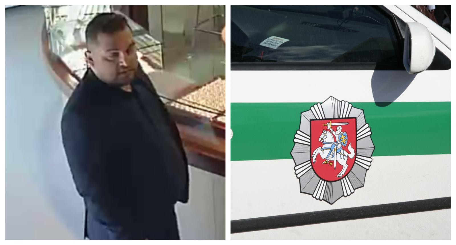 Policija prašo pagalbos ieškant įtariamo vagyste juvelyrinių dirbinių salone