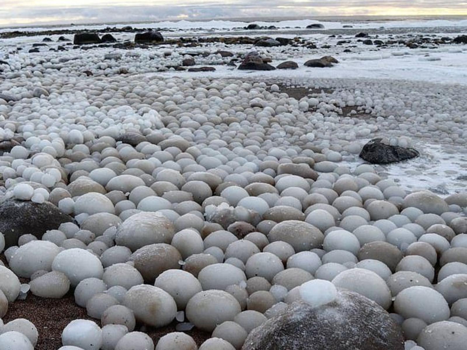 """Baltijos pakrantėje aptiko keistą radinį – daugybę """"ledo kiaušinių"""""""
