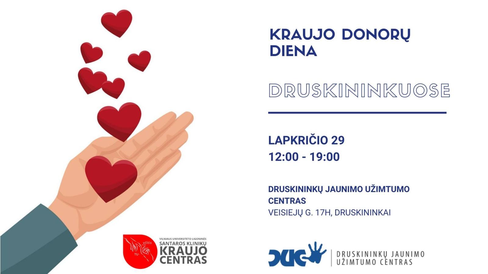 Kraujo donorų diena Druskininkuose lapkričio 29 d.