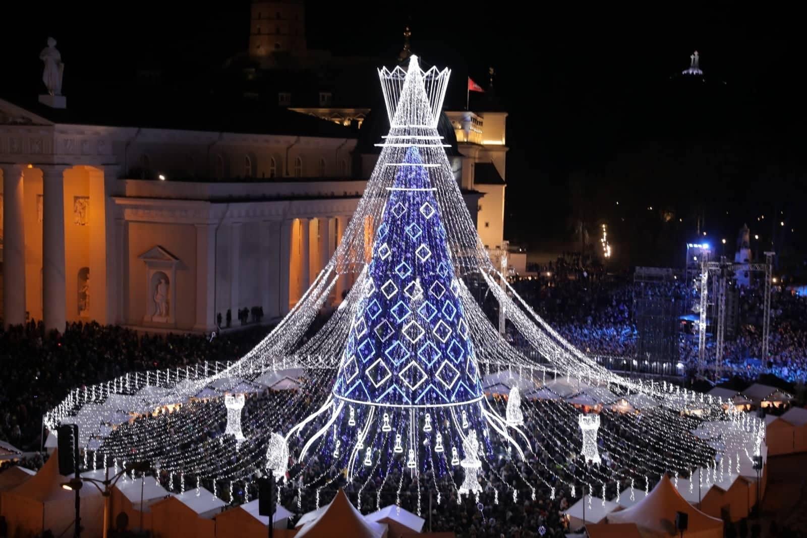 Karalienė atvyko į Vilnių: pristatyta pagrindinė šalies Kalėdinė eglė