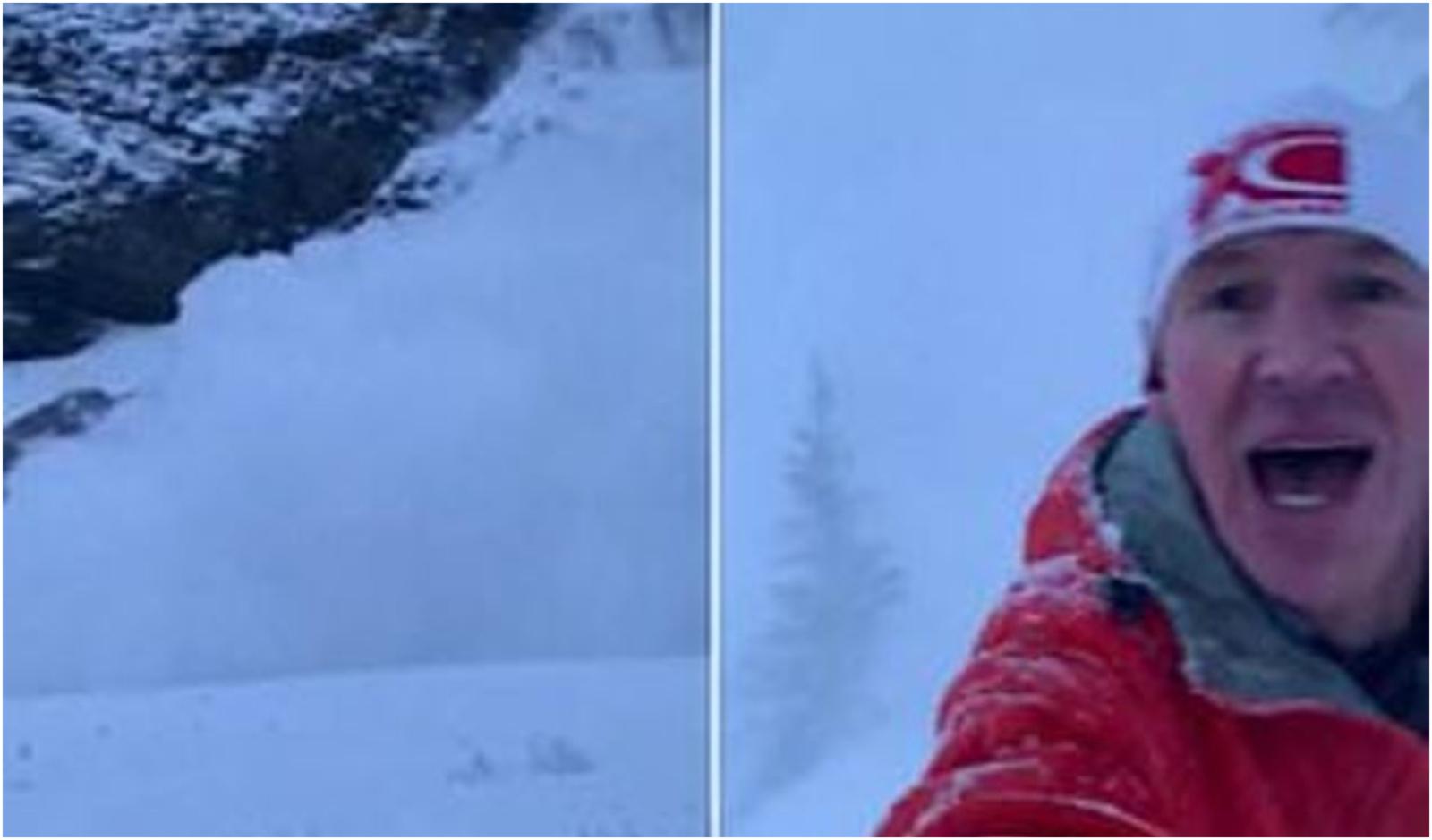 Vyras užfiksavo kaip jį vejasi sniego lavina (vaizdo įrašas)