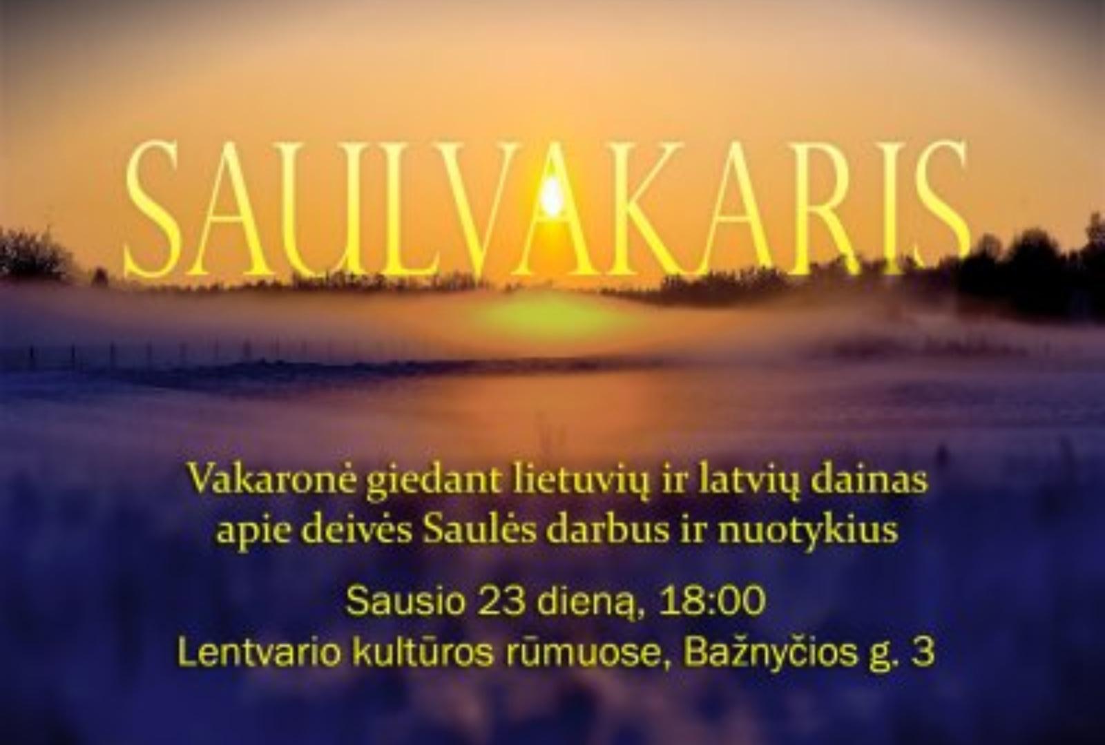 """Lentvario kultūros rūmuose – vakaronė """"Saulvakaris"""""""