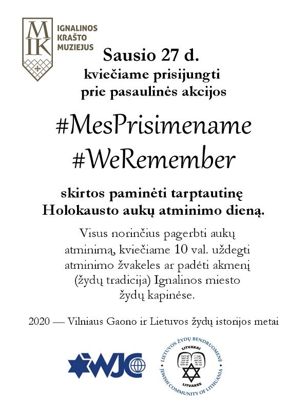 """Ignaliniečius kviečia dalyvauti akcijoje """"Mes prisimename"""""""