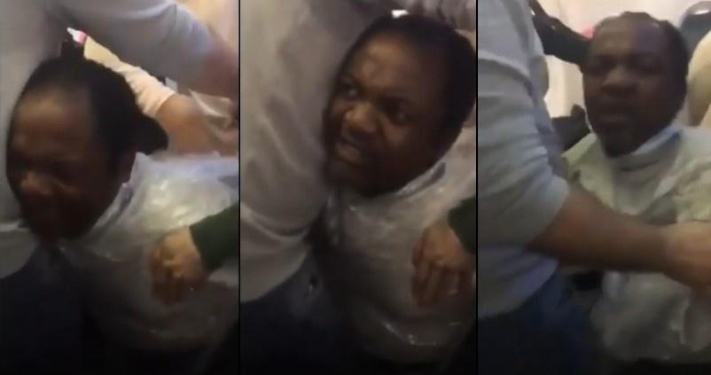 """Deportuojamas vyras lėktuve """"supakuotas"""" į celofaną (vaizdo įrašas)"""