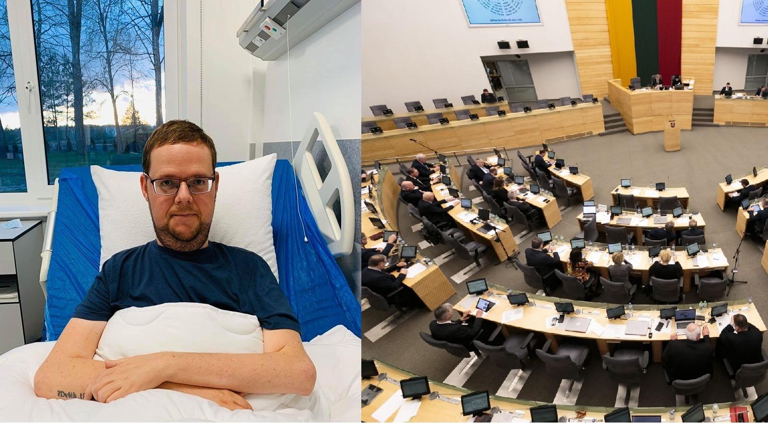 Dėl koronaviruso tiriamas Seimo narys J. Džiugelis (atvykęs medikas apsauginį kostiumą sutvirtino izoliacine juosta)