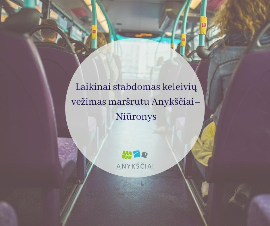 Laikinai stabdomas keleivių vežimas maršrutu Anykščiai–Niūronys