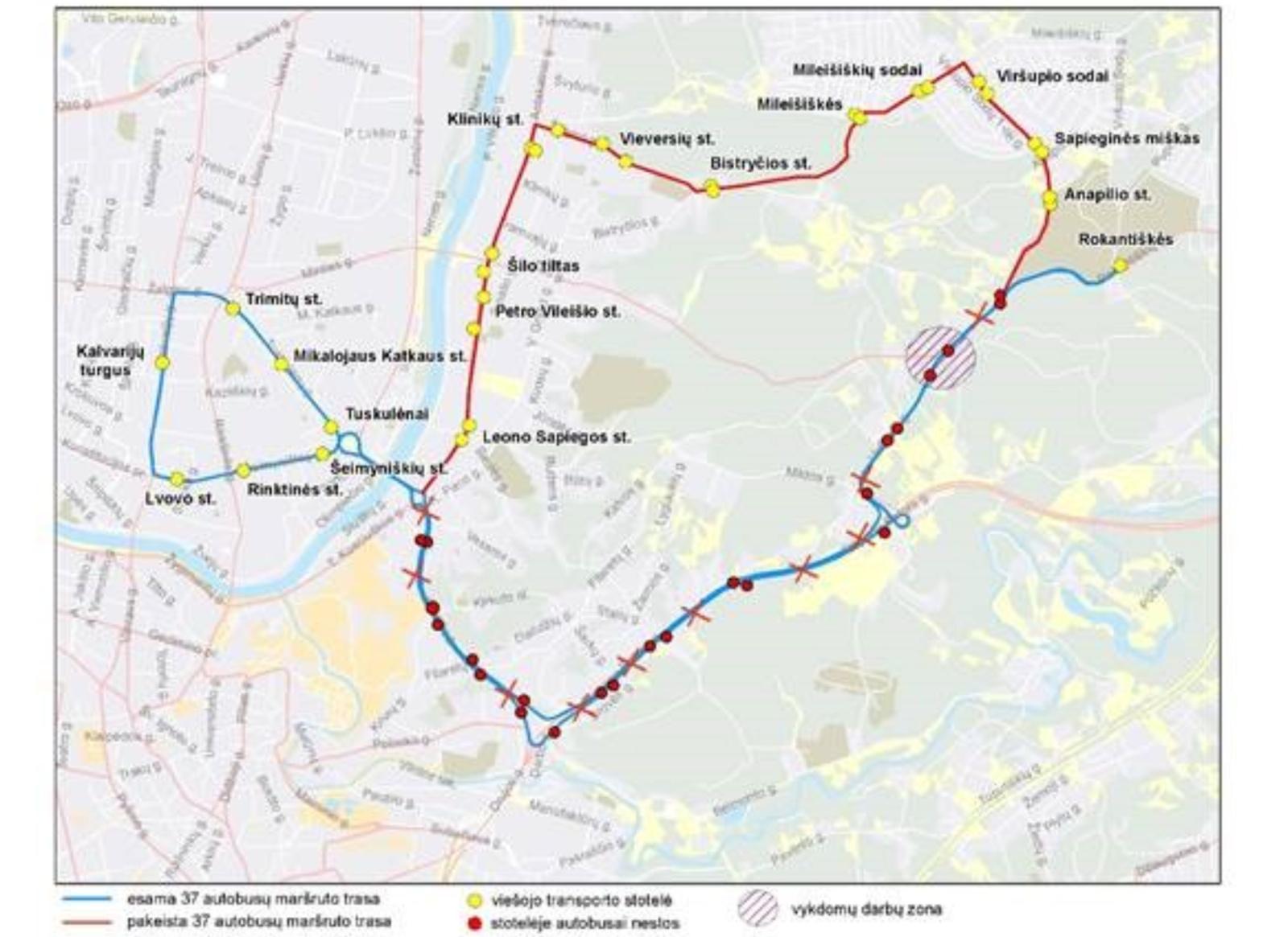 Šilo ir Viršupio gatvių sankryžoje – laikini eismo ribojimai ir 37 maršruto autobusų pakeitimai