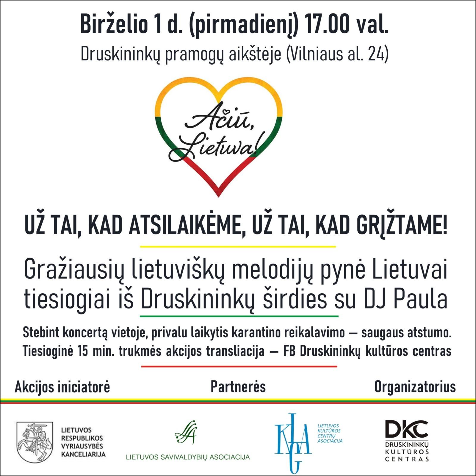 """Druskininkai jungiasi prie visuotinės iniciatyvos """"Ačiū, Lietuva"""""""