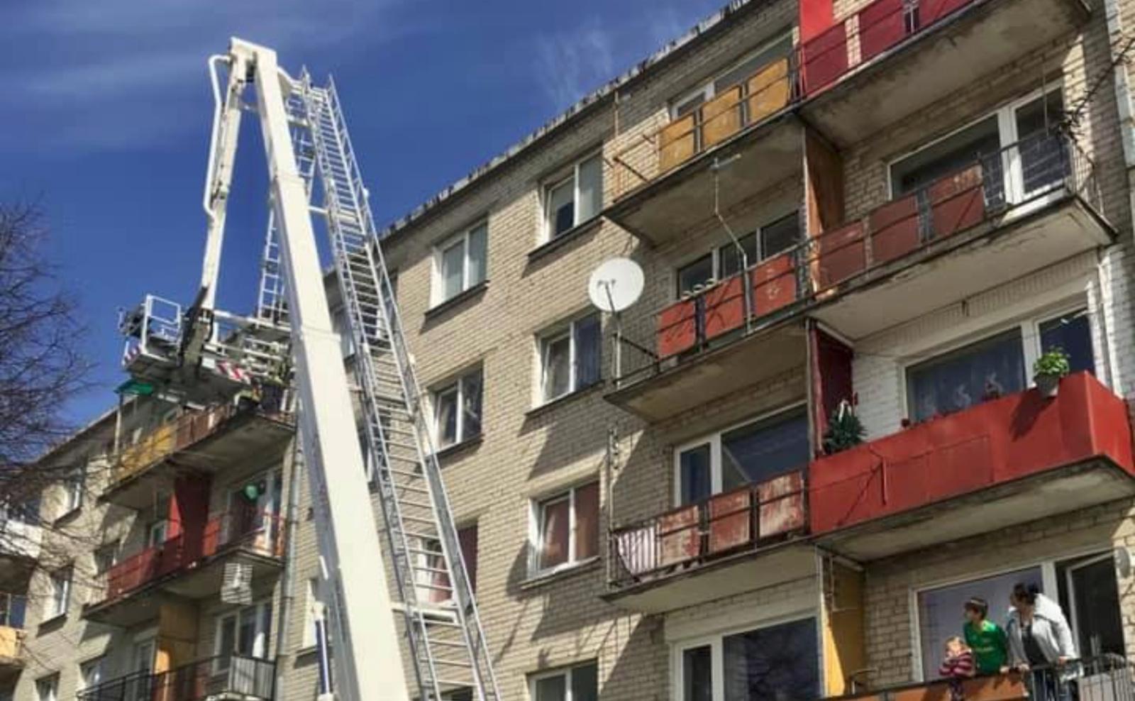 Kauno daugiabutyje – ventiliacijos angoje įstrigusio kačiuko gelbėjimo operacija