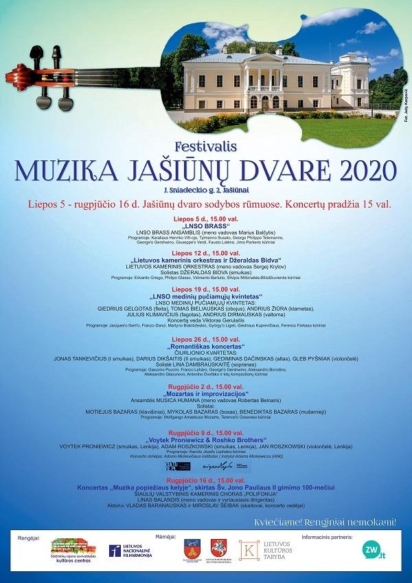 """Festivalis """"Muzika Jašiūnų dvare 2020"""""""