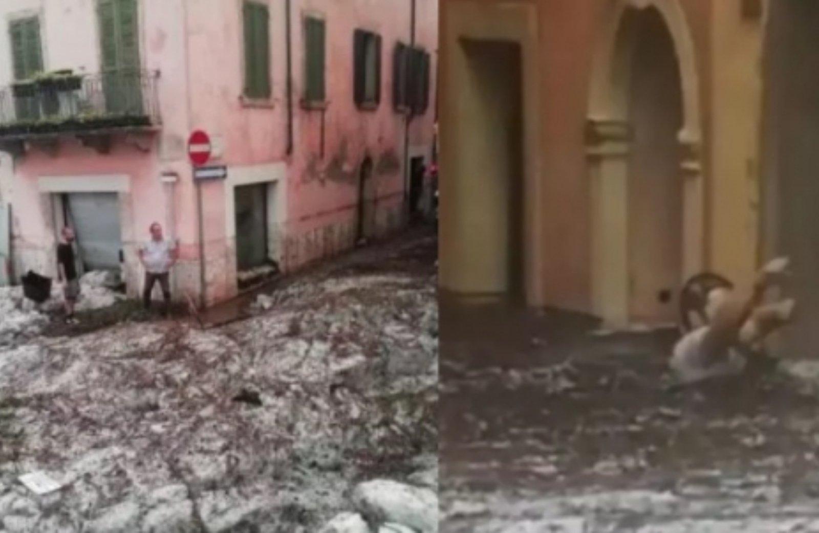 Šiaurės Italijoje praūžė smarki audra: Veronos gatves užtvindė krušos upė (vaizdo įrašas)