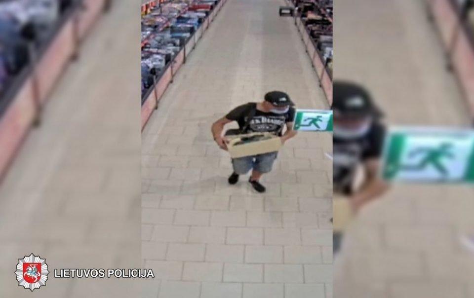 Policija prašo pagalbos: ieškomas parduotuvę apvogęs vyras