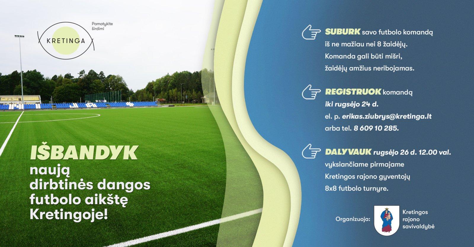 Kviečia išbandyti naują dirbtinės dangos futbolo aikštę Kretingoje