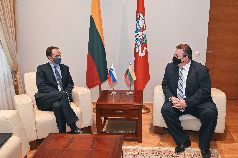 Lietuvos užsienio reikalų ministras susitiko su Slovėnijos užsienio reikalų ministru