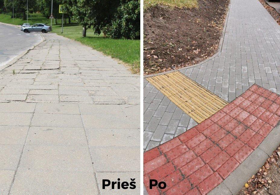 Marijampolė atsinaujina: baigiamas Uosupio gatvės šaligatvių remontas
