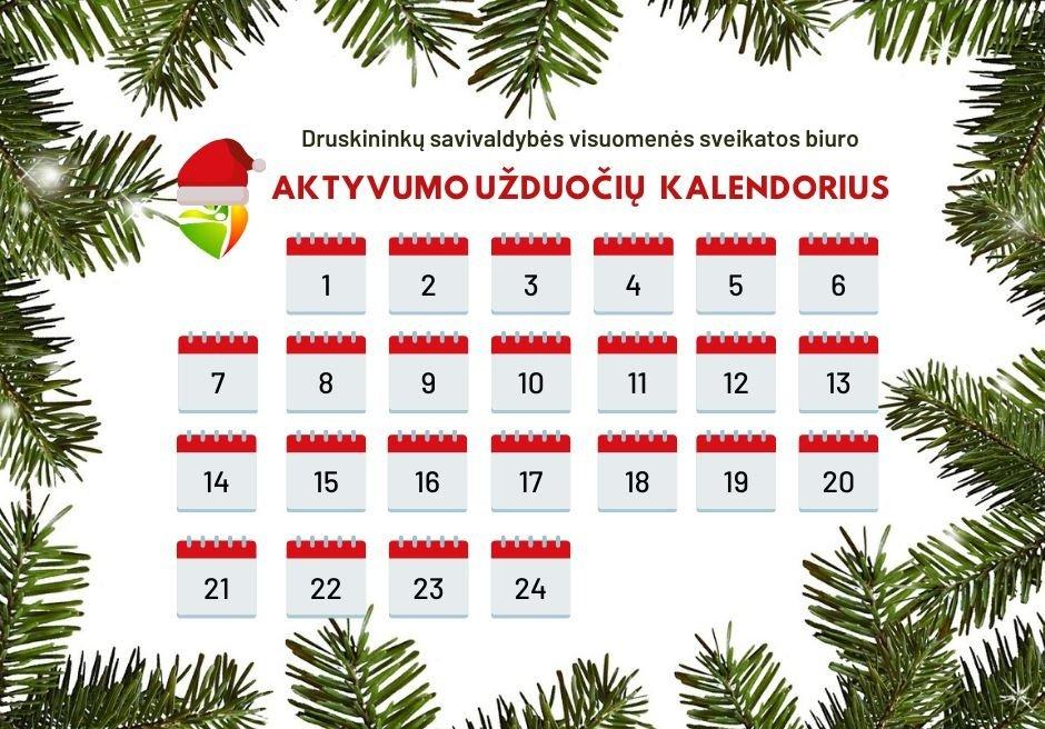 Visuomenės sveikatos biuras kviečia druskininkiečius išbandyti aktyvumo užduočių kalendorių