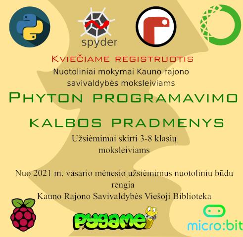 """""""Python"""" programavimo kalba Kauno rajono savivaldybės viešojoje bibliotekoje"""