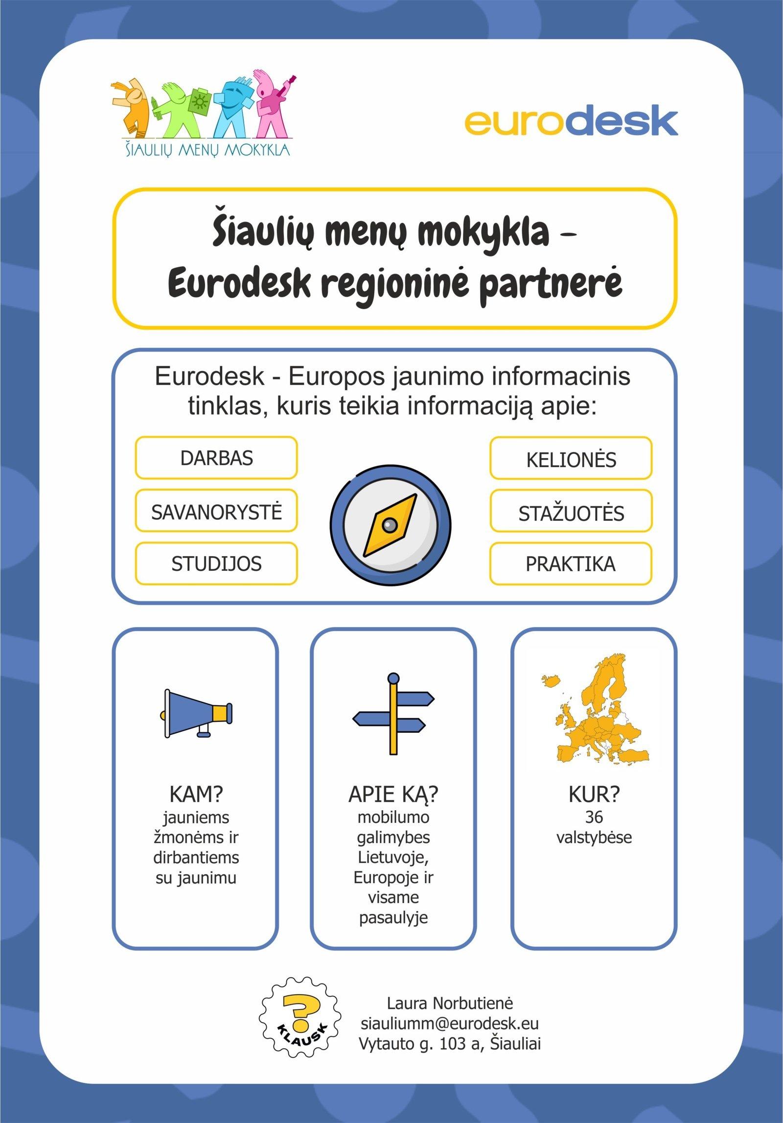 Šiaulių menų mokykla tapo tarptautinio informacinio tinklo Eurodesk regionine partnere