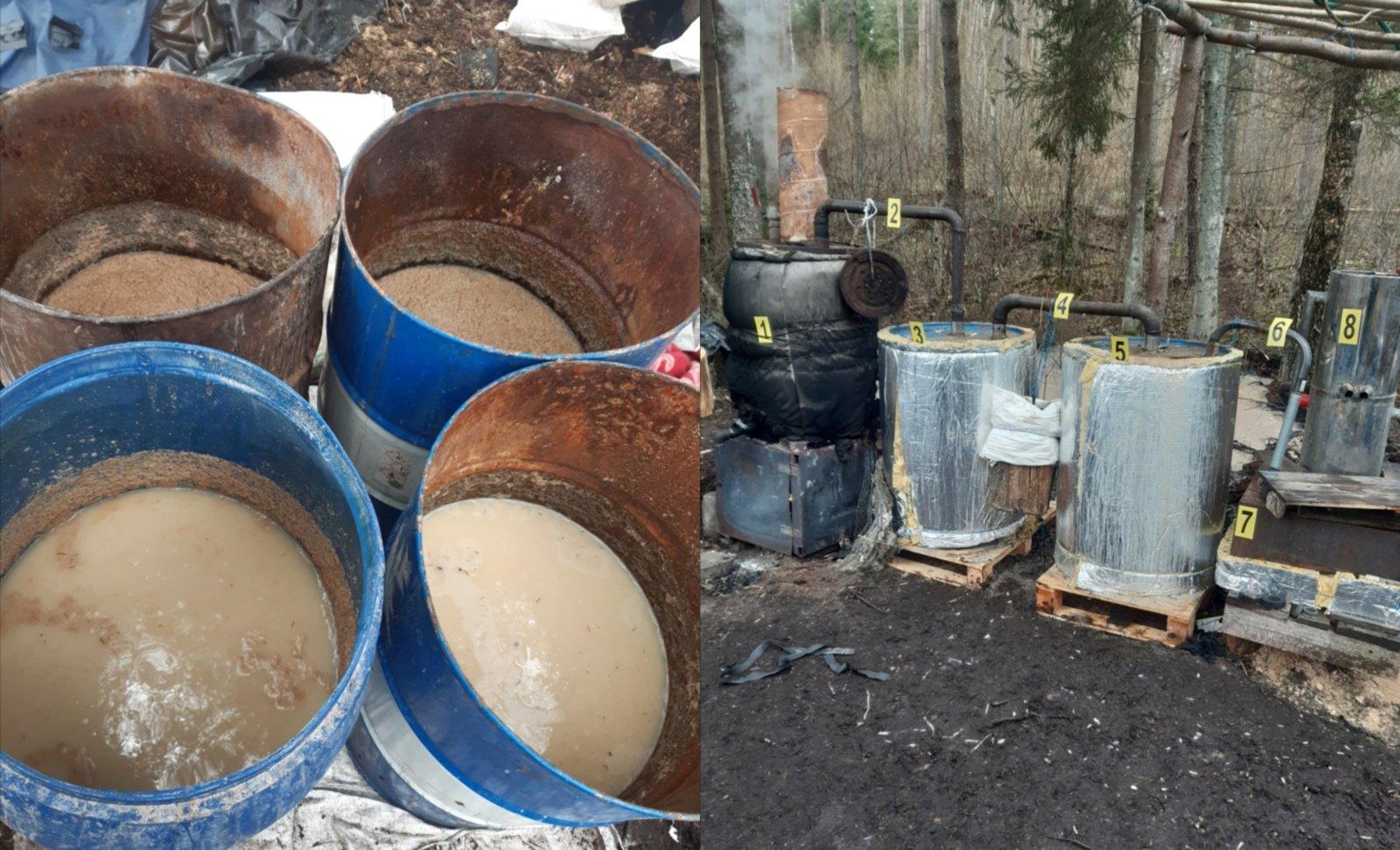 """Švenčionių rajono miške policija aptiko naminės degtinės """"fabrikėlį"""""""