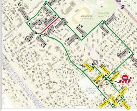 Informacija apie ribojamą eismą Radviliškio mieste