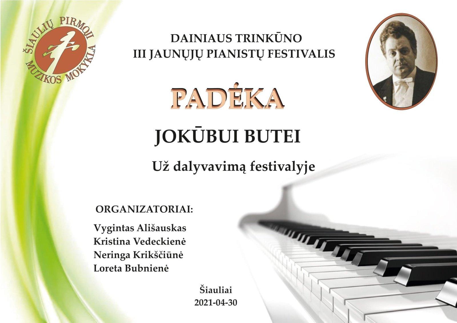 Su padėka iš Tarptautinio Dainiaus Trinkūno jaunųjų pianistų konkurso