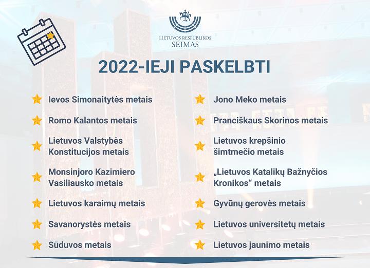 Seimas sutarė dėl 2022-ųjų atmintinų metų