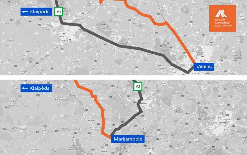 Važiuojantiems magistraliniu keliu A1 Vilnius–Kaunas–Klaipėda – rekomenduojama rinktis alternatyvius maršrutus